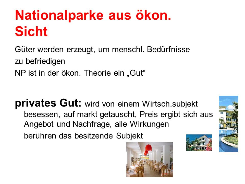 Nationalparke aus ökon. Sicht