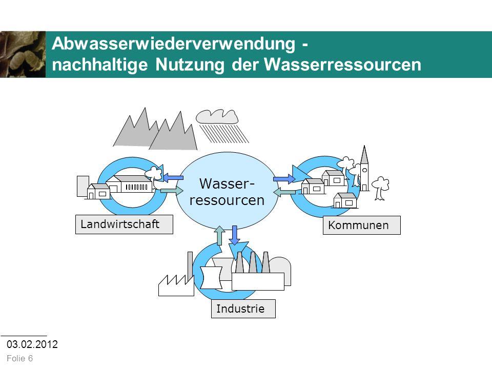 Abwasserwiederverwendung - nachhaltige Nutzung der Wasserressourcen