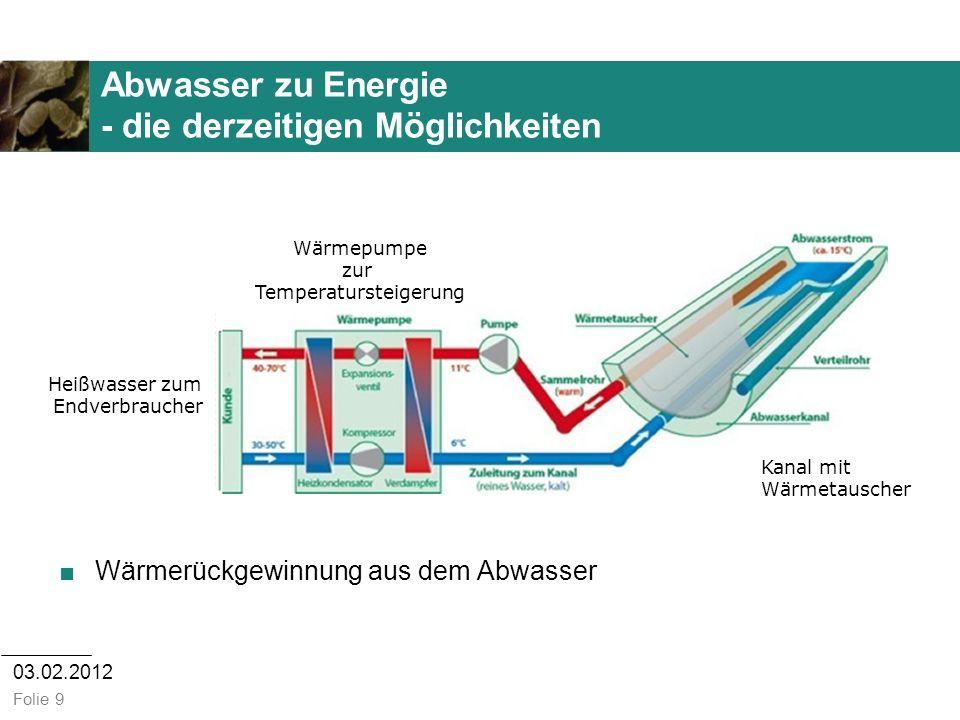 Abwasser zu Energie - die derzeitigen Möglichkeiten