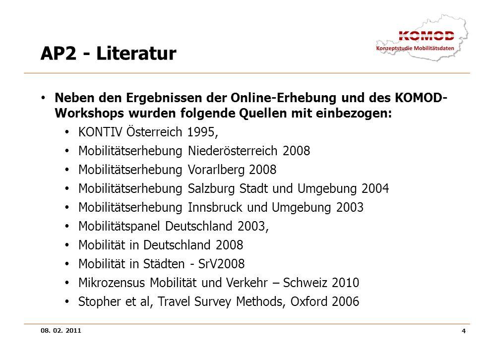 AP2 - Literatur Neben den Ergebnissen der Online-Erhebung und des KOMOD-Workshops wurden folgende Quellen mit einbezogen: