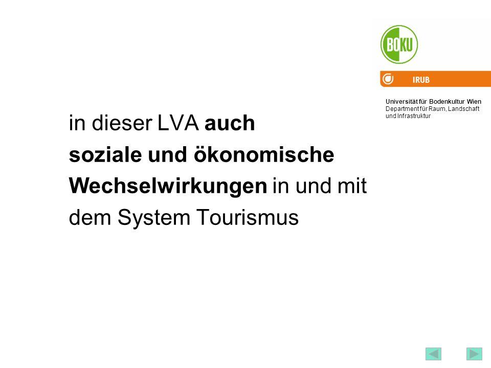 in dieser LVA auch soziale und ökonomische Wechselwirkungen in und mit dem System Tourismus