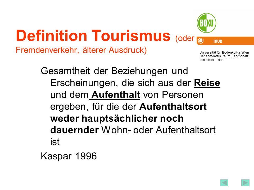 Definition Tourismus (oder Fremdenverkehr, älterer Ausdruck)