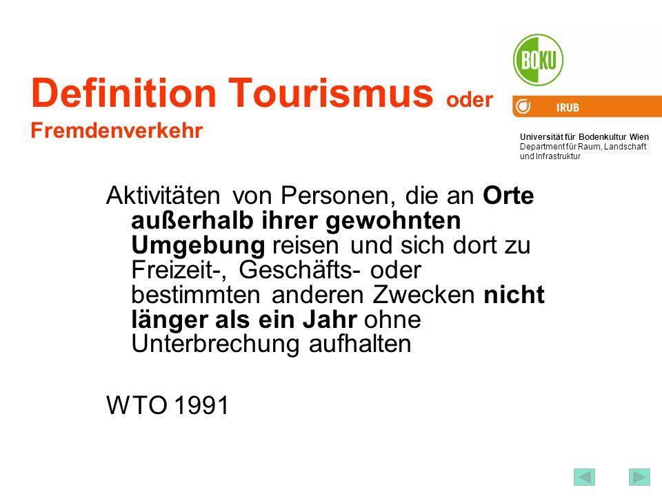 Definition Tourismus oder Fremdenverkehr