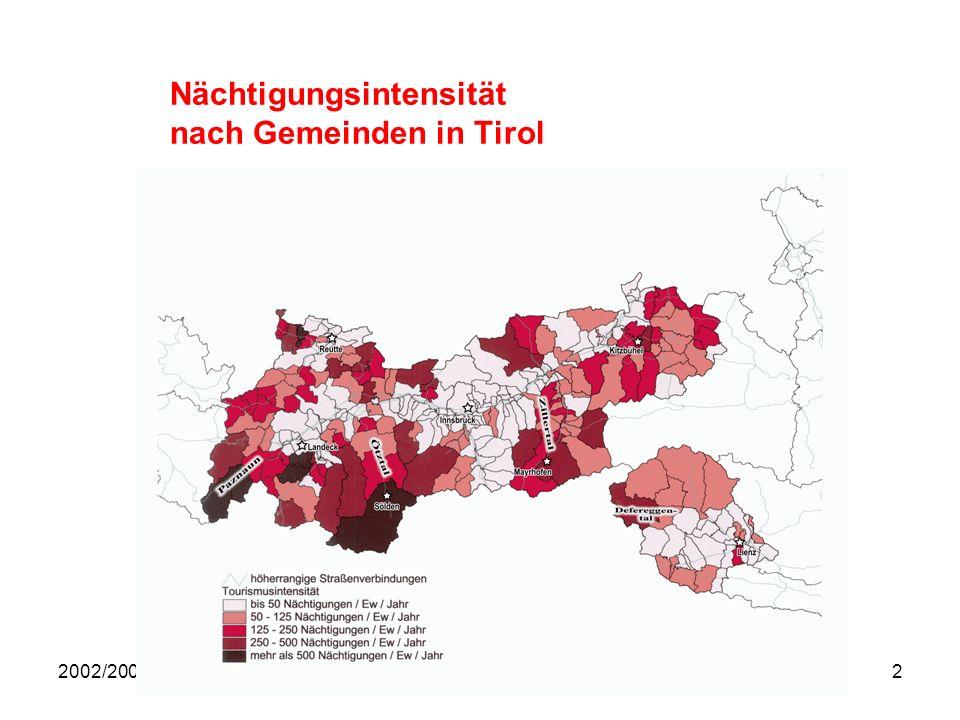 Nächtigungsintensität nach Gemeinden in Tirol