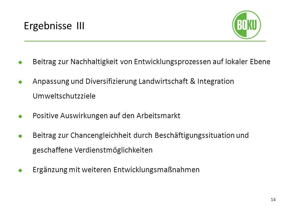 Ergebnisse III Beitrag zur Nachhaltigkeit von Entwicklungsprozessen auf lokaler Ebene.