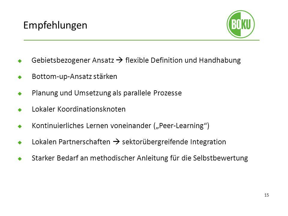 Empfehlungen Gebietsbezogener Ansatz  flexible Definition und Handhabung. Bottom-up-Ansatz stärken.