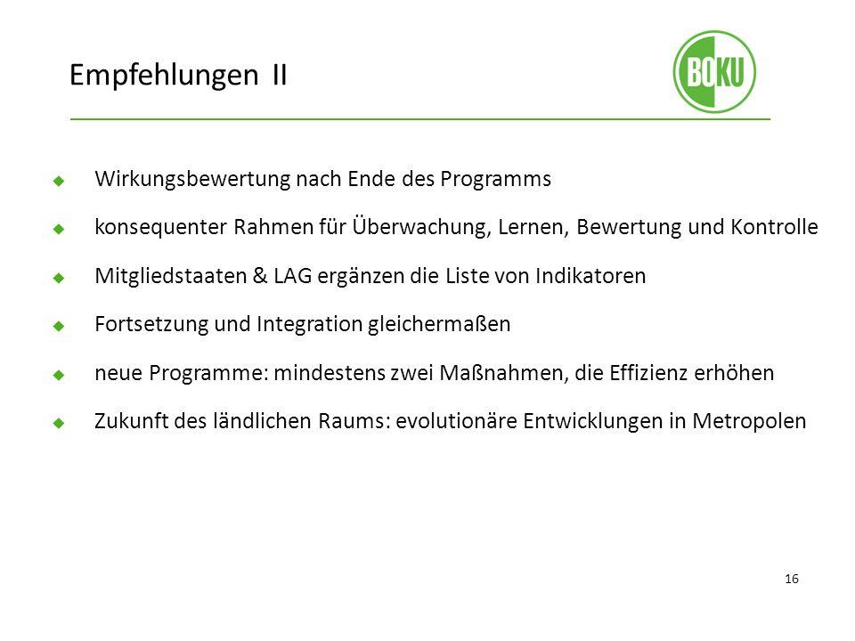 Empfehlungen II Wirkungsbewertung nach Ende des Programms