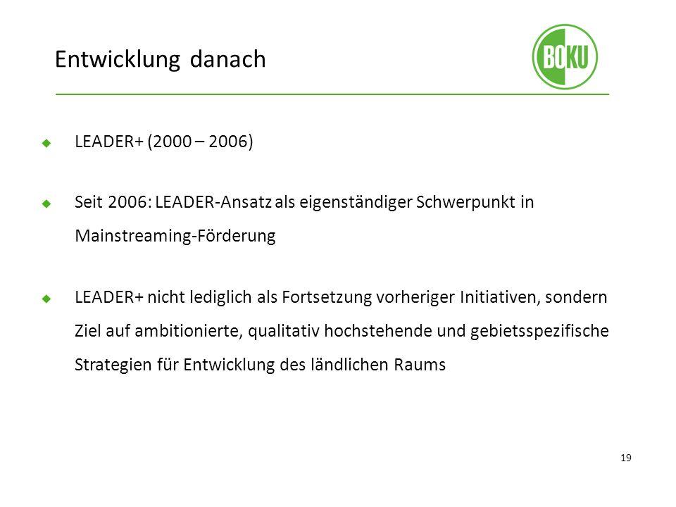 Entwicklung danach LEADER+ (2000 – 2006)