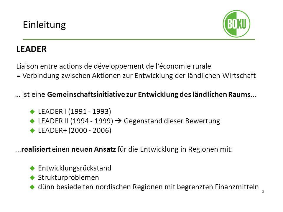 Einleitung LEADER. Liaison entre actions de développement de l'économie rurale.