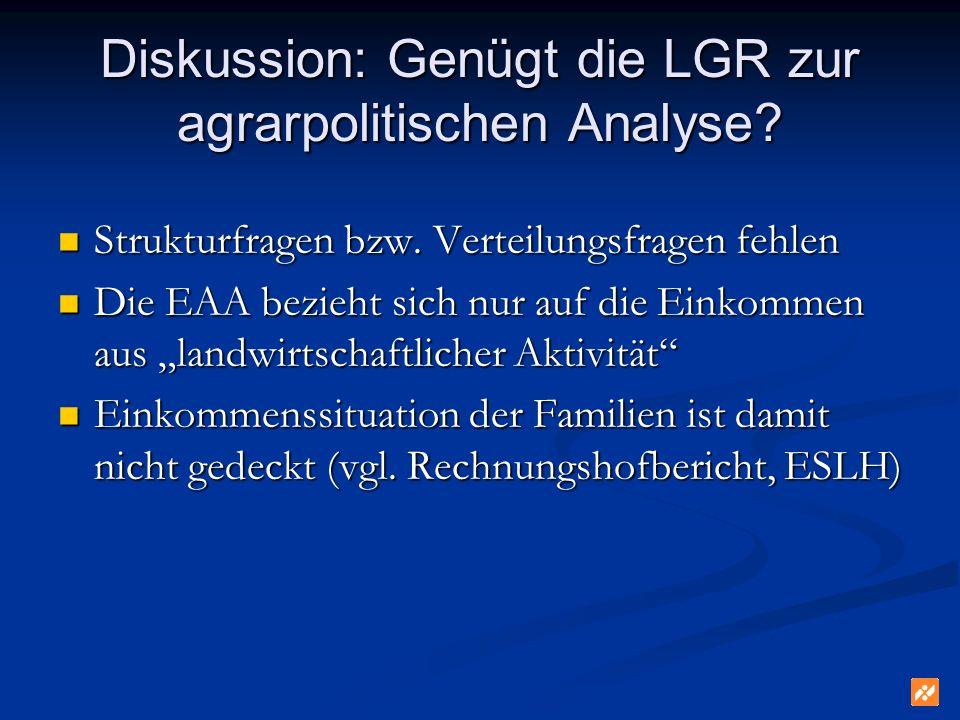 Diskussion: Genügt die LGR zur agrarpolitischen Analyse