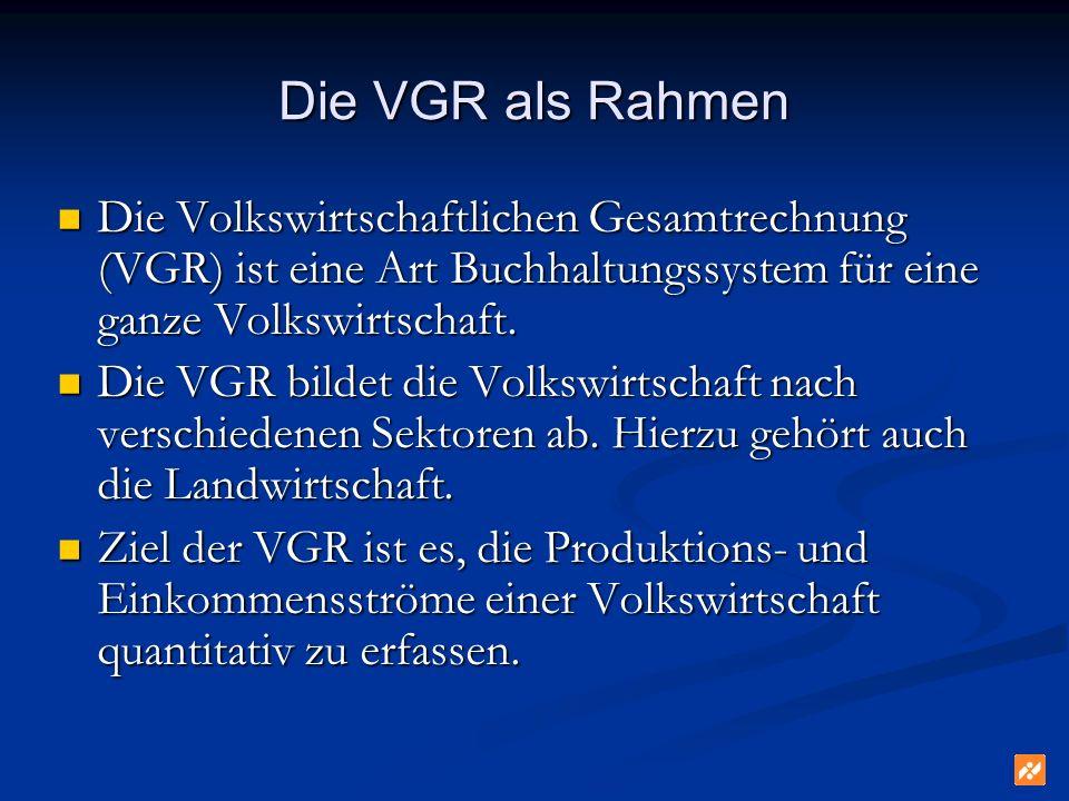 Die VGR als Rahmen Die Volkswirtschaftlichen Gesamtrechnung (VGR) ist eine Art Buchhaltungssystem für eine ganze Volkswirtschaft.
