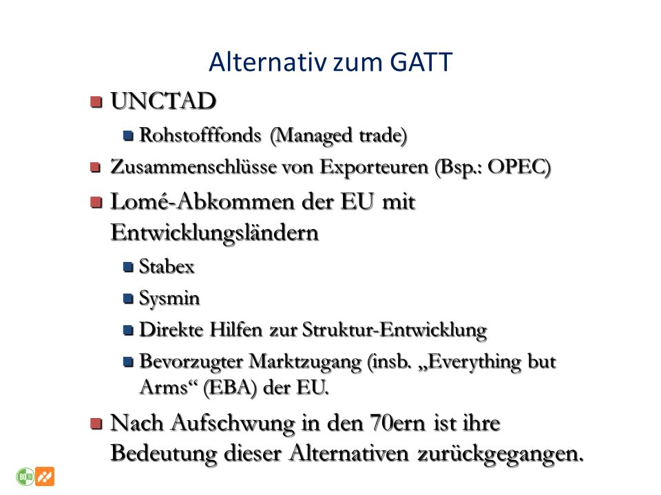 Alternativ zum GATT UNCTAD