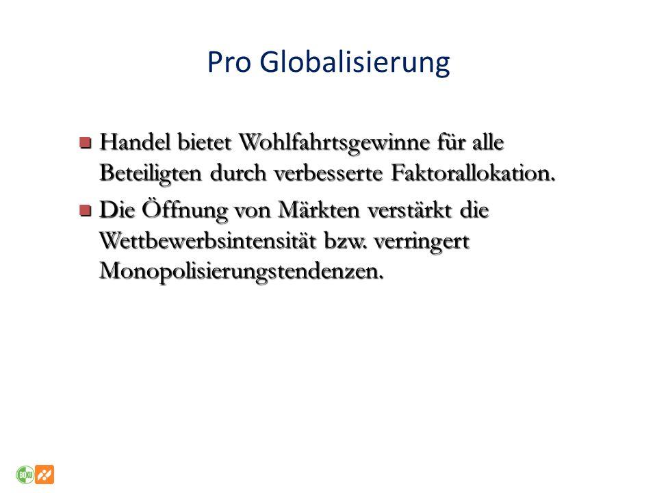 Pro Globalisierung Handel bietet Wohlfahrtsgewinne für alle Beteiligten durch verbesserte Faktorallokation.