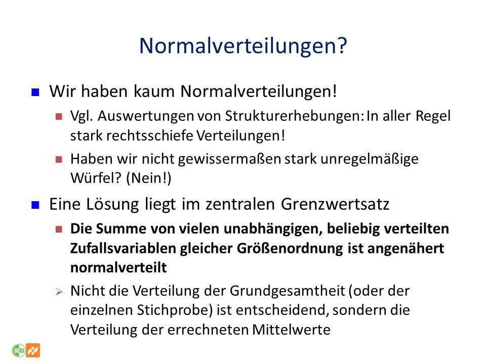 Normalverteilungen Wir haben kaum Normalverteilungen!