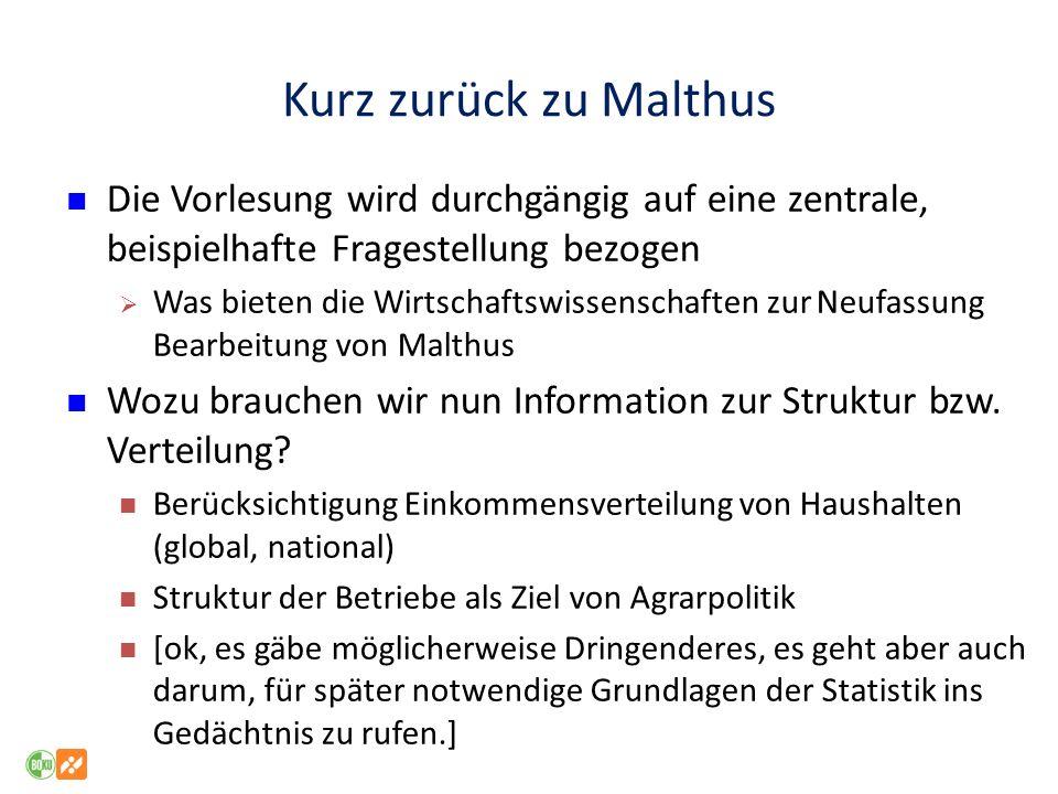 Kurz zurück zu Malthus Die Vorlesung wird durchgängig auf eine zentrale, beispielhafte Fragestellung bezogen.