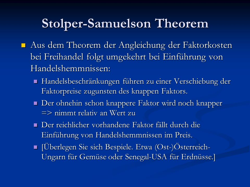 Stolper-Samuelson Theorem