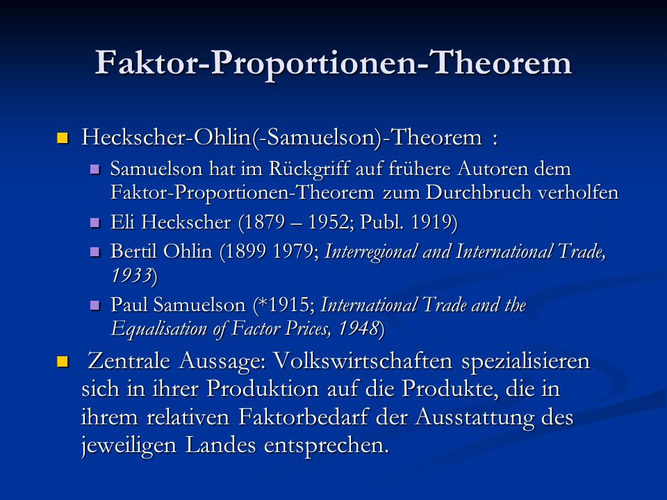 Faktor-Proportionen-Theorem