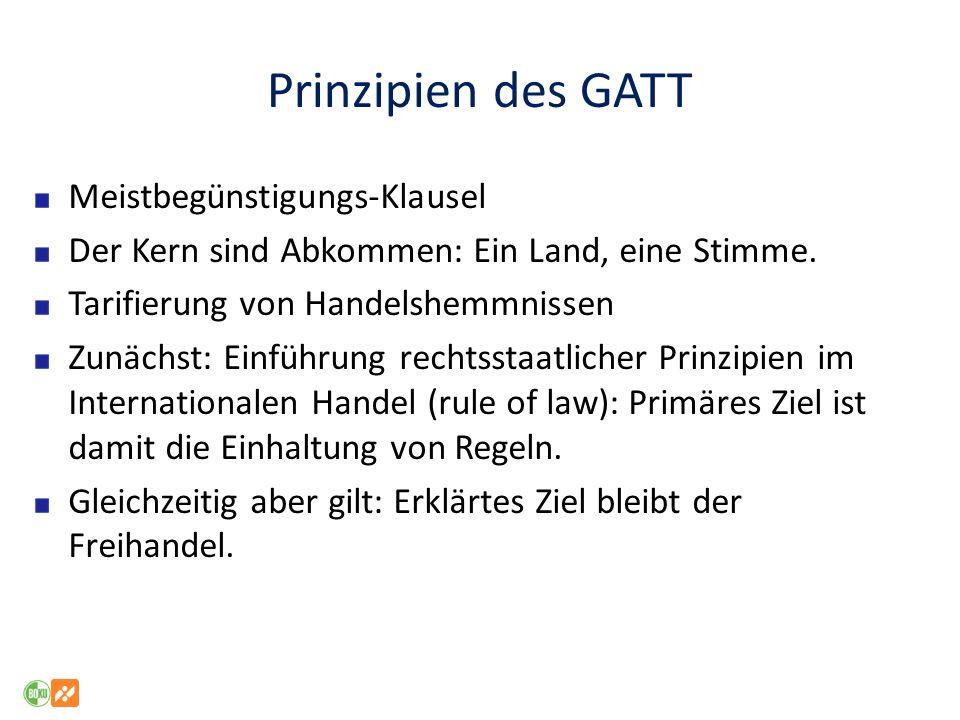 Prinzipien des GATT Meistbegünstigungs-Klausel