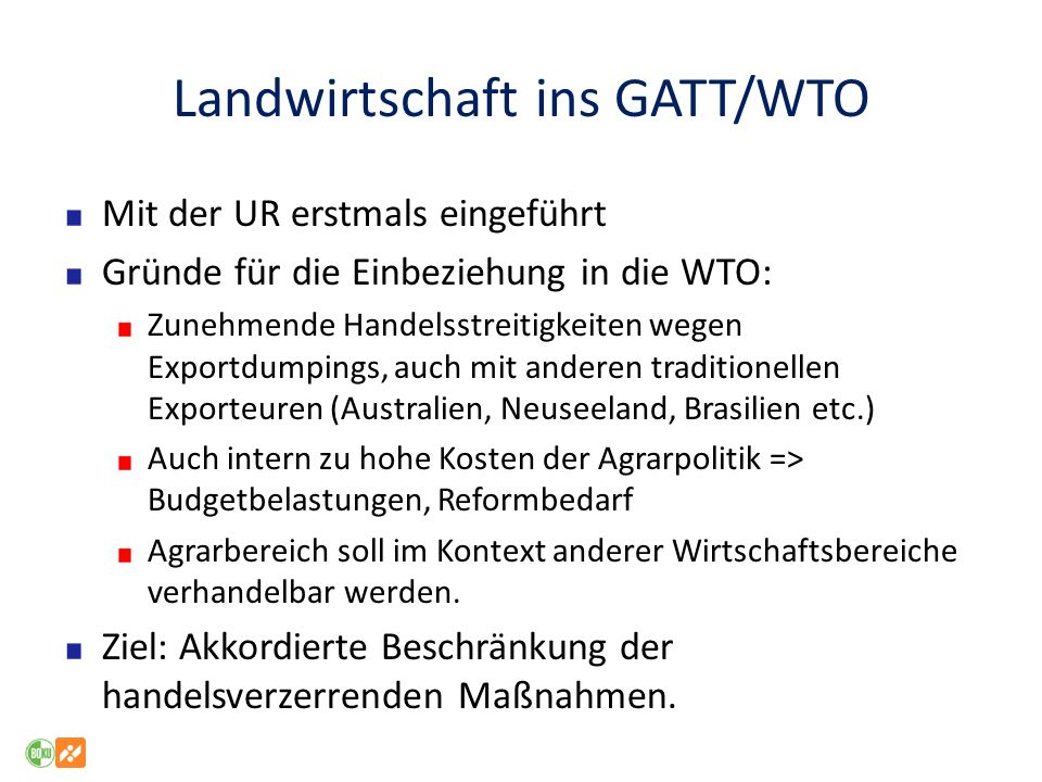 Landwirtschaft ins GATT/WTO
