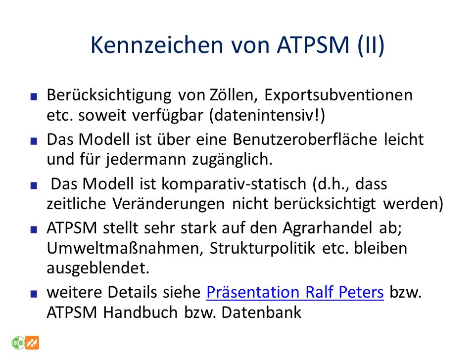 Kennzeichen von ATPSM (II)
