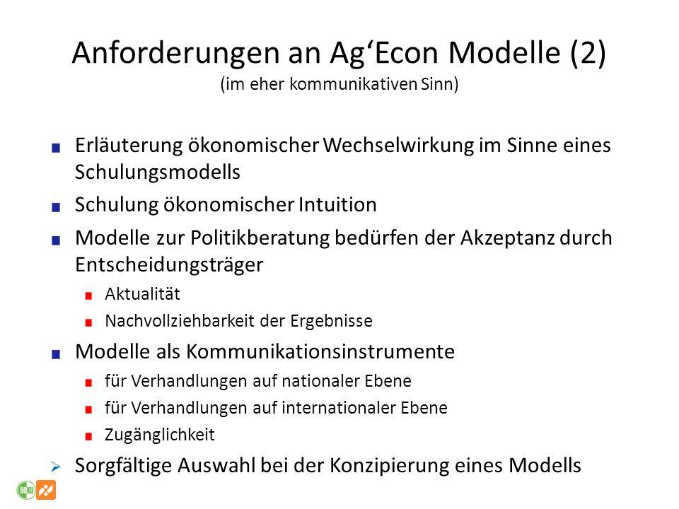 Anforderungen an Ag'Econ Modelle (2) (im eher kommunikativen Sinn)