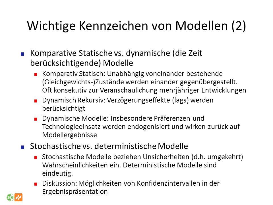 Wichtige Kennzeichen von Modellen (2)