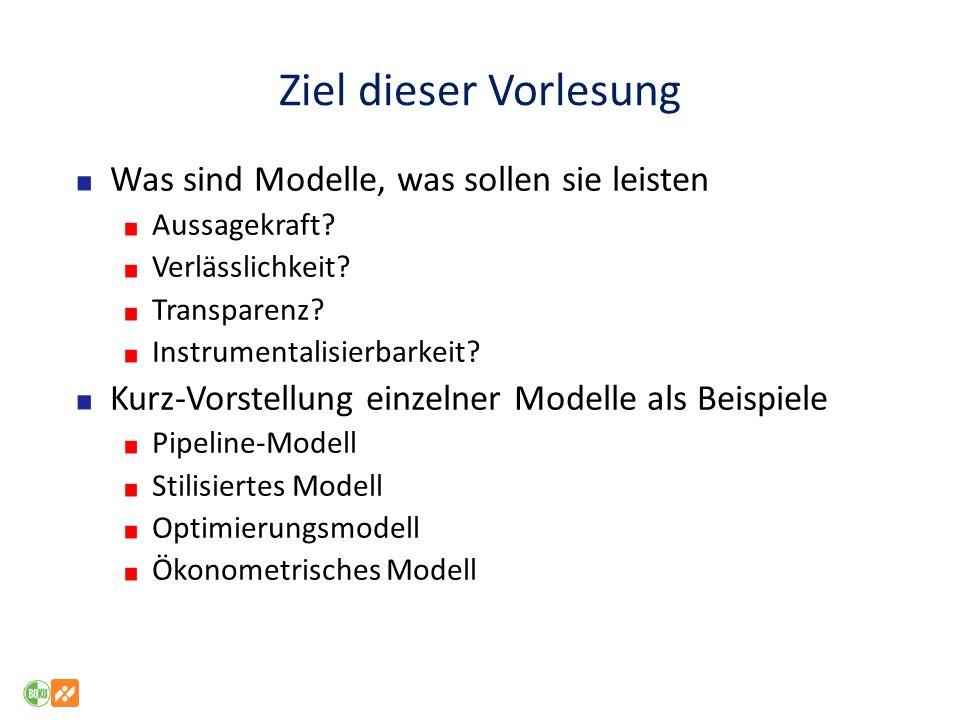 Ziel dieser Vorlesung Was sind Modelle, was sollen sie leisten