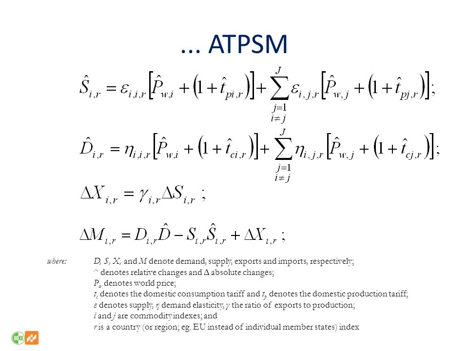 ... ATPSM where: D, S, X, and M denote demand, supply, exports and imports, respectively; ^ denotes relative changes and ∆ absolute changes;