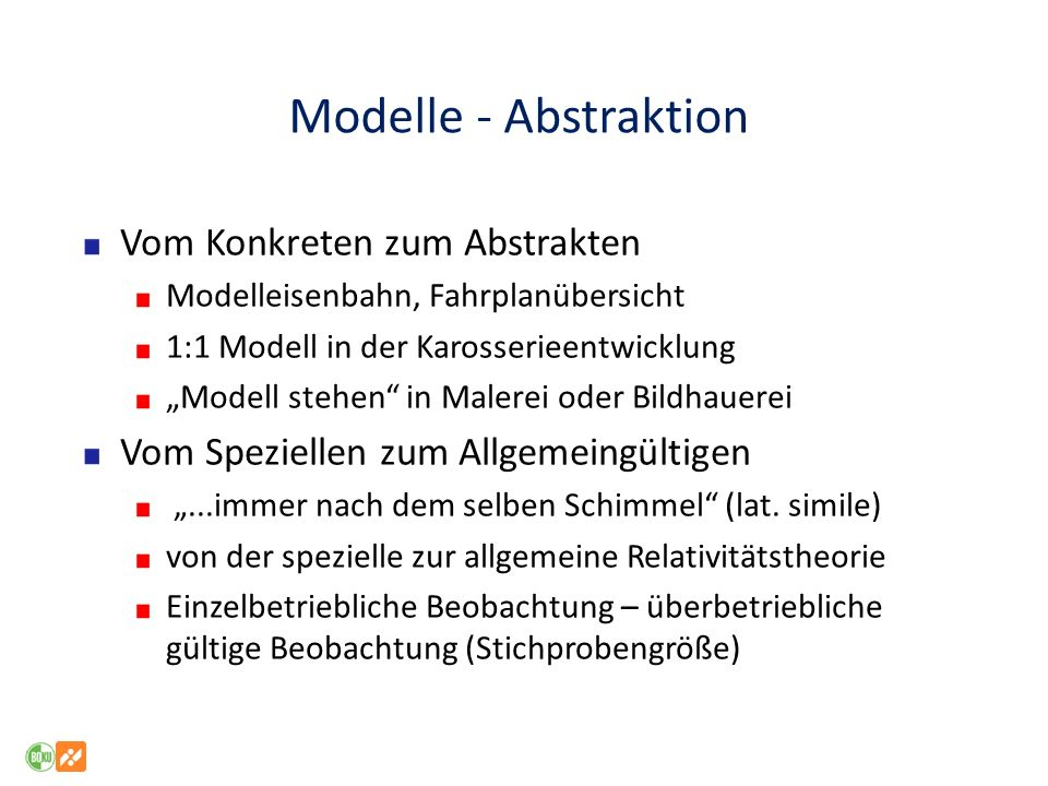 Modelle - Abstraktion Vom Konkreten zum Abstrakten