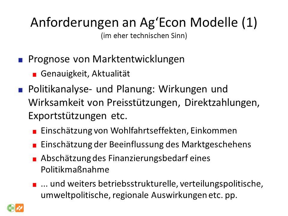 Anforderungen an Ag'Econ Modelle (1) (im eher technischen Sinn)