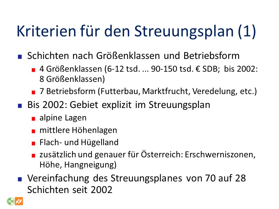 Kriterien für den Streuungsplan (1)