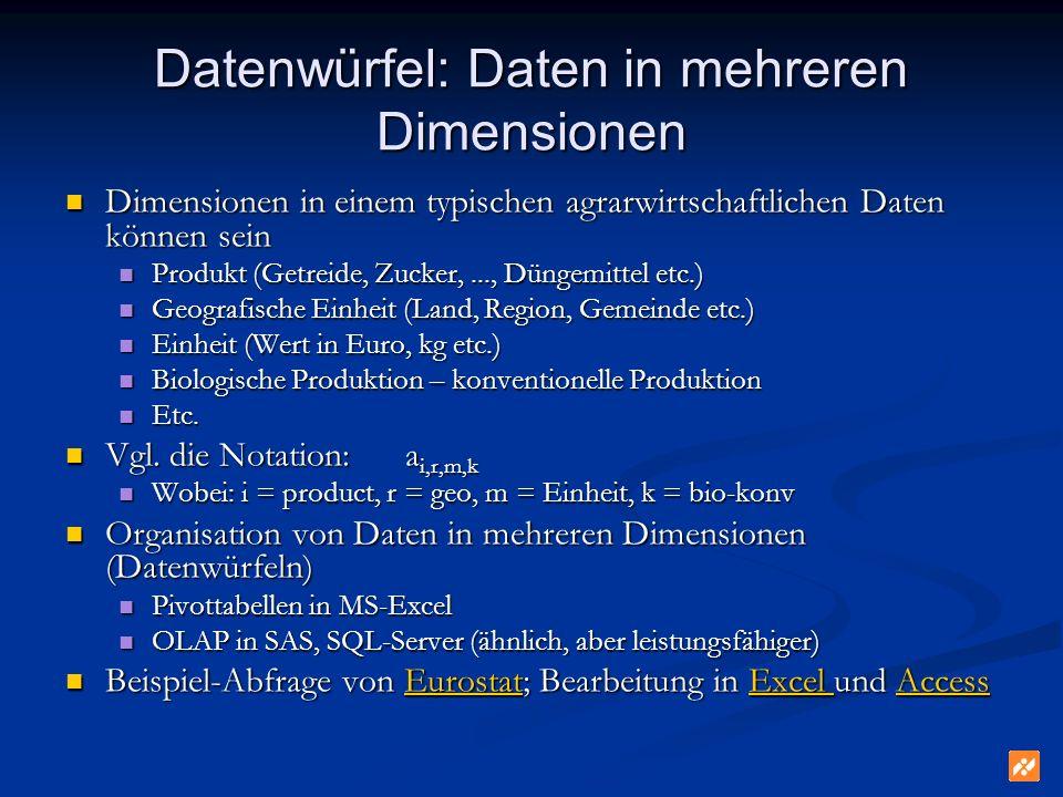 Datenwürfel: Daten in mehreren Dimensionen