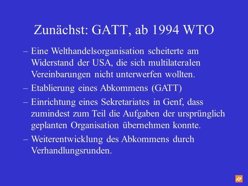 Zunächst: GATT, ab 1994 WTO