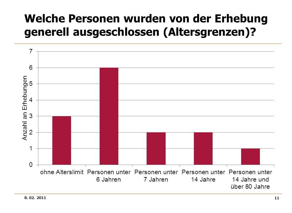 Welche Personen wurden von der Erhebung generell ausgeschlossen (Altersgrenzen)