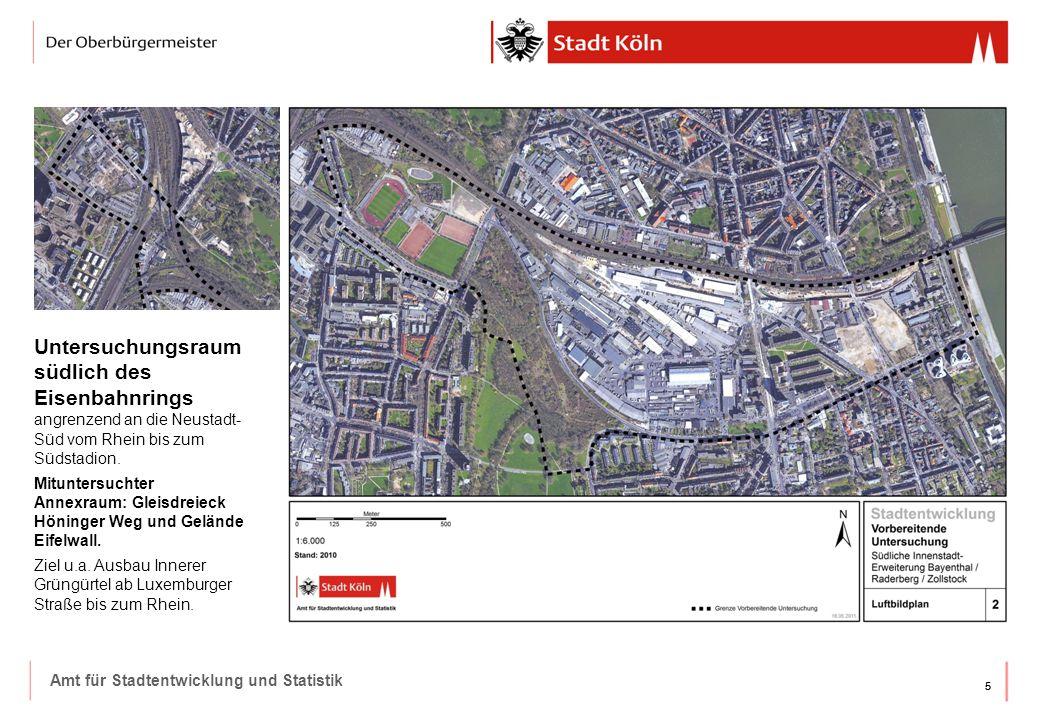 Untersuchungsraum südlich des Eisenbahnrings angrenzend an die Neustadt-Süd vom Rhein bis zum Südstadion.
