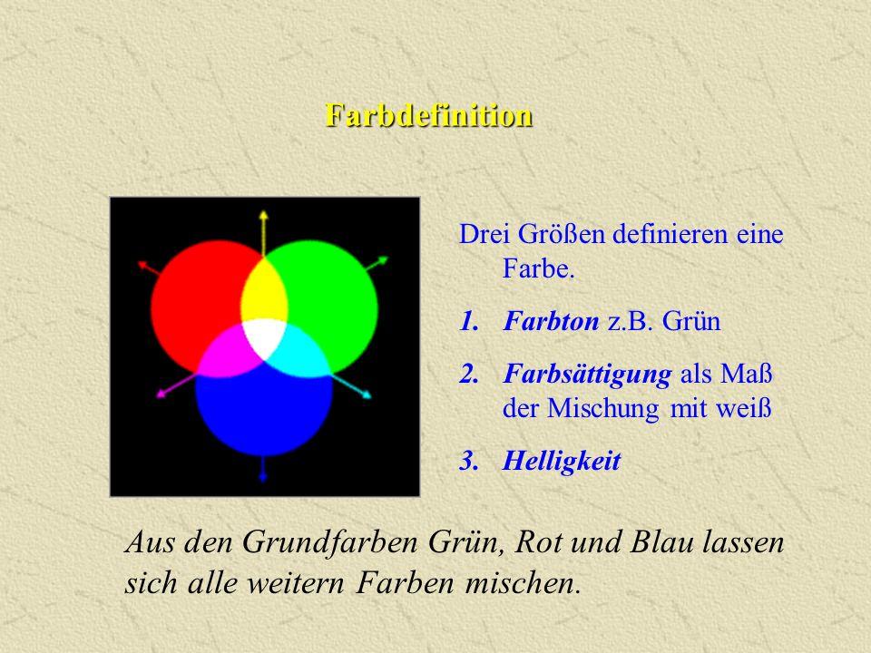 Farbdefinition Drei Größen definieren eine Farbe. Farbton z.B. Grün. Farbsättigung als Maß der Mischung mit weiß.