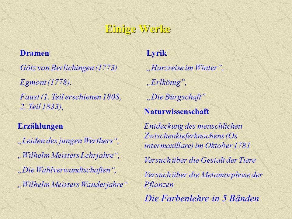 Einige Werke Die Farbenlehre in 5 Bänden Dramen