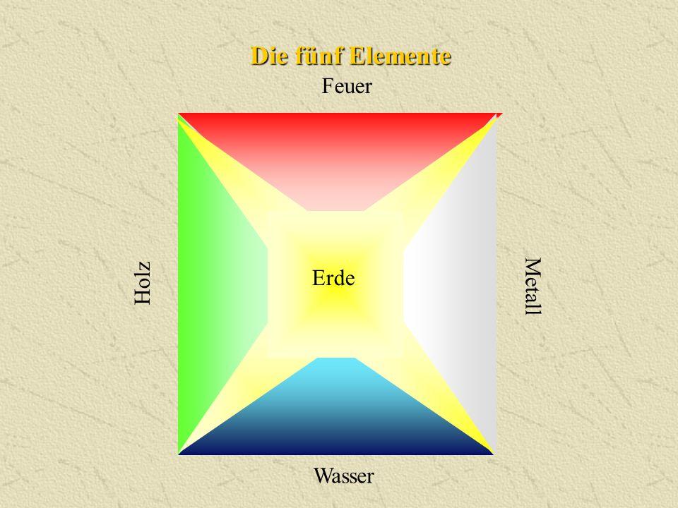Die fünf Elemente Feuer Erde Holz Metall Wasser