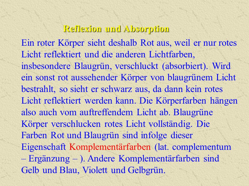 Reflexion und Absorption