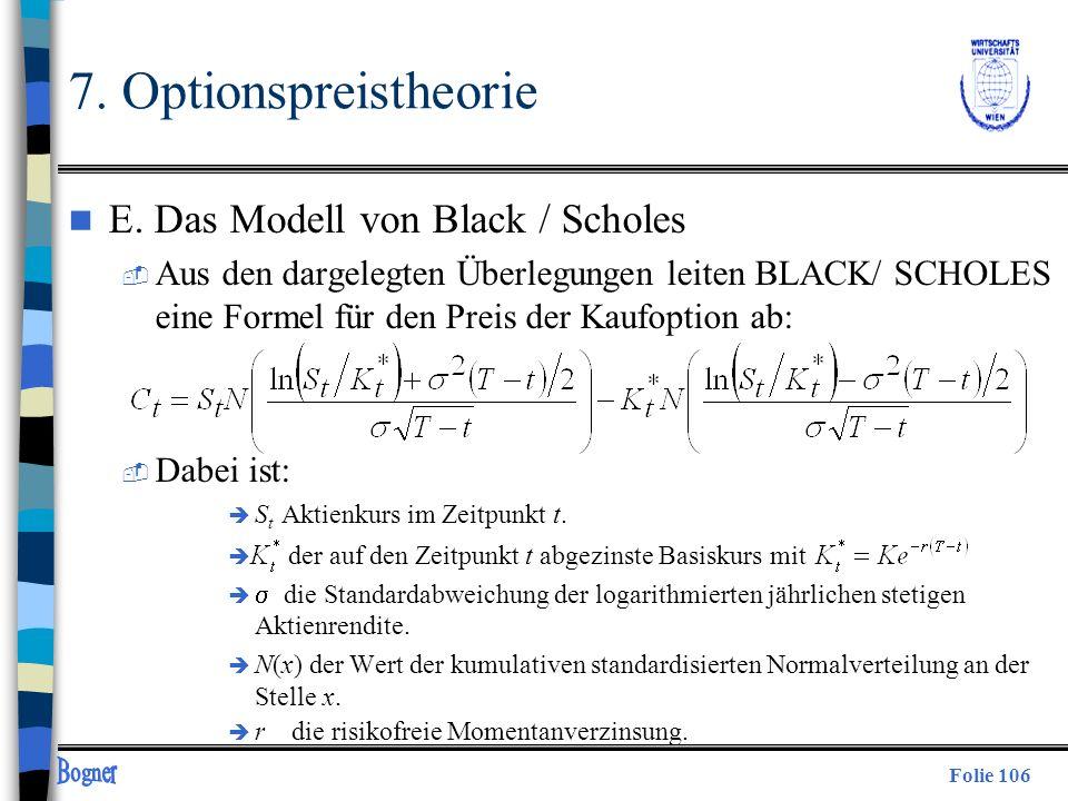 7. Optionspreistheorie E. Das Modell von Black / Scholes