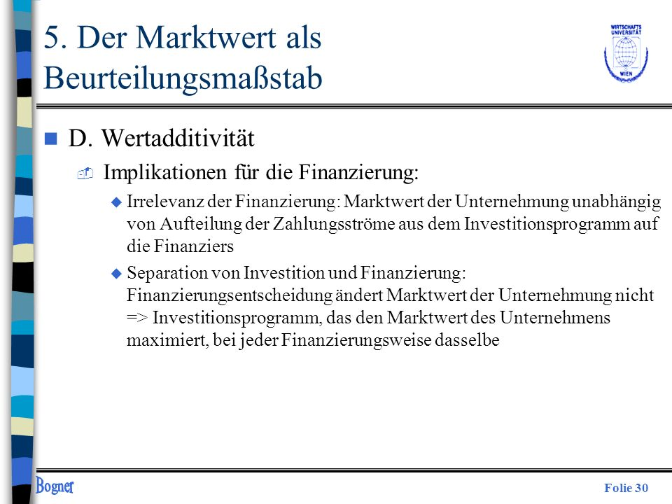 5. Der Marktwert als Beurteilungsmaßstab
