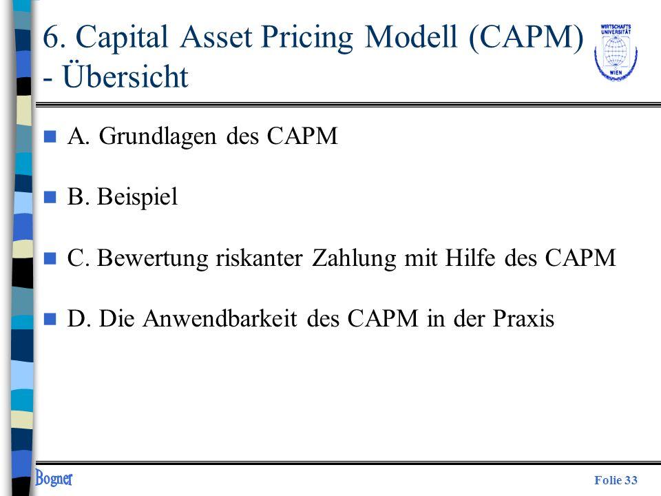 6. Capital Asset Pricing Modell (CAPM) - Übersicht
