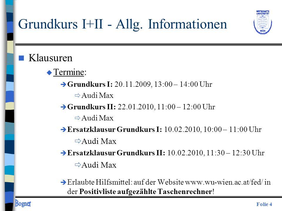 Grundkurs I+II - Allg. Informationen
