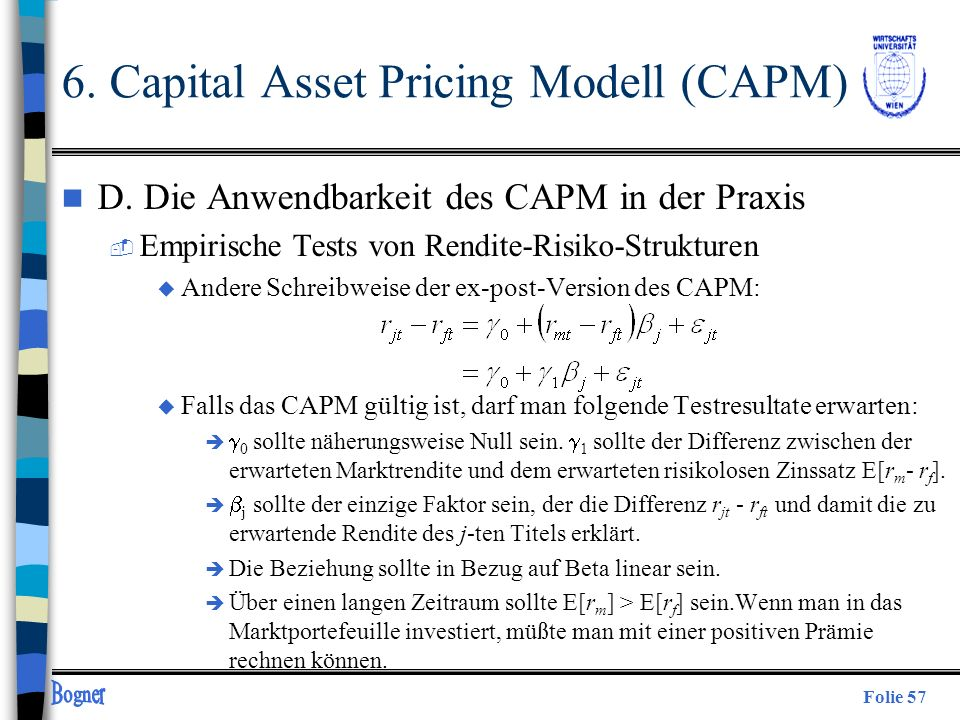 6. Capital Asset Pricing Modell (CAPM)