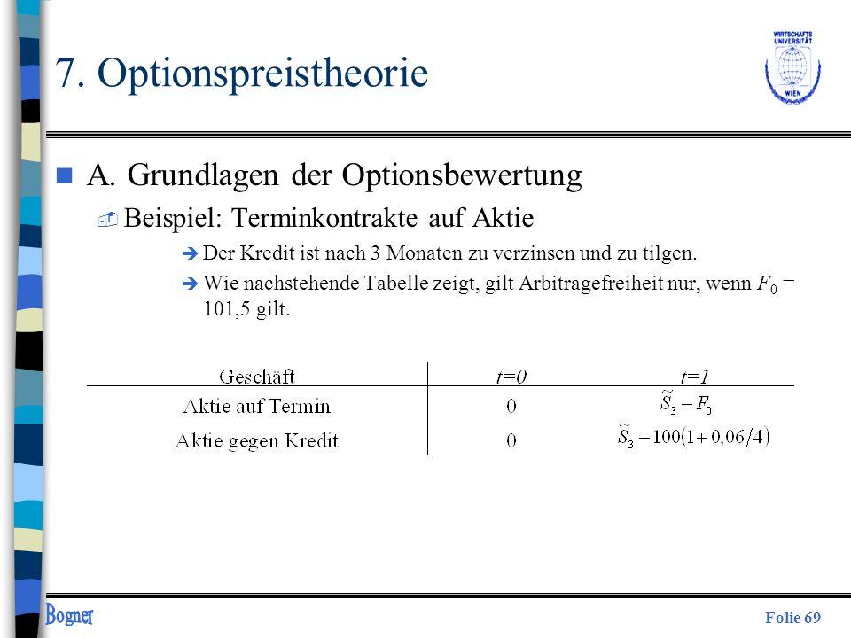 7. Optionspreistheorie A. Grundlagen der Optionsbewertung