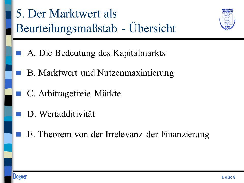 5. Der Marktwert als Beurteilungsmaßstab - Übersicht
