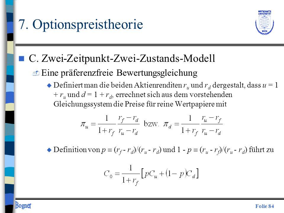 7. Optionspreistheorie C. Zwei-Zeitpunkt-Zwei-Zustands-Modell
