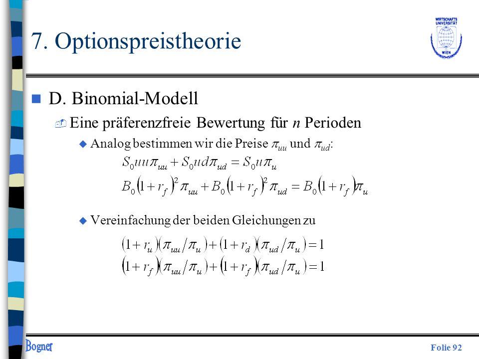 7. Optionspreistheorie D. Binomial-Modell