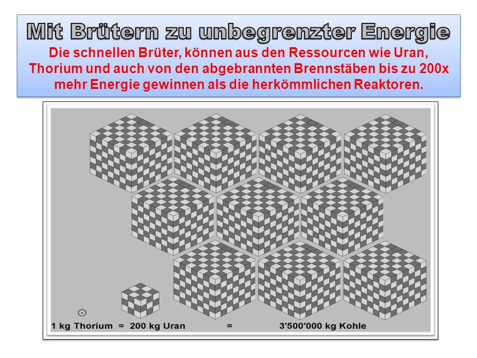 Mit Brütern zu unbegrenzter Energie Die schnellen Brüter, können aus den Ressourcen wie Uran, Thorium und auch von den abgebrannten Brennstäben bis zu 200x mehr Energie gewinnen als die herkömmlichen Reaktoren.
