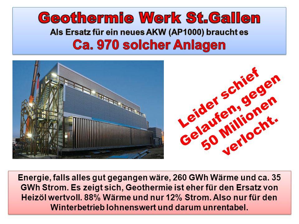 Geothermie Werk St.Gallen Als Ersatz für ein neues AKW (AP1000) braucht es Ca. 970 solcher Anlagen